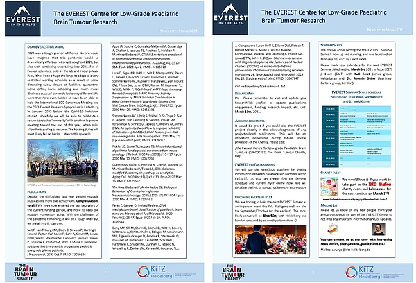 The EVEREST Centre for Low-Grade Paediatric Brain Tumour Research, Everest Newsletter Spring 2021